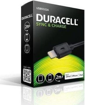 Duracell USB to Lightning Cable Black 2m (USB5022A)