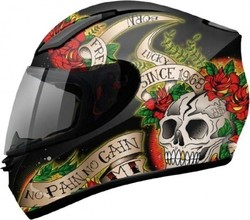 MT Revenge Skull & Rose Gloss Black/Red