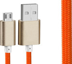 OEM Braided USB 2.0 to micro USB Cable Orange 1m (23998)