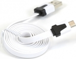 Omega Flat USB 2.0 to micro USB Cable Λευκό 1m (OUAMCW)