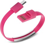 OEM Flat Keychain USB 2.0 to micro USB Cable Pink 0.22m (DAT22)