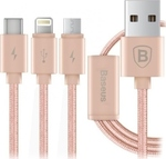 Baseus Portman Series Braided USB to Lightning/Type-C/micro USB Cable Ροζ 1.2m (CAMCLGTC-PM0V)