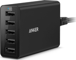 Anker 5x USB Wall Adapter Μαύρο (PowerPort 5)