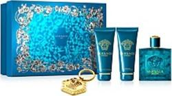 Versace Eros Eau de Toilette 100ml & Aftershave Balm 100ml & Shower Gel 100ml & Keychain