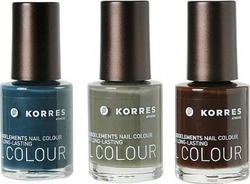 Korres Nail Polish Set 37 Hazy Petrol & 62 Warm Khaki & 68 Chocolate Brown