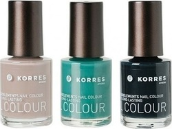 Korres Nail Polish Set 30 Pure Almond & 39 Green Seaweed & 73 Blackened Green