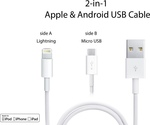 iDroid USB to Lightning,micro USB Cable Λευκό 1m (IDROID-WH)