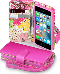 Terrapin Flip Wallet Flowers Pink (iPhone 5/5s/SE)