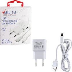Volte-Tel USB Wall Adapter & Cable Λευκό (VCD05+VLU15)