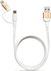 Adam Elements PeAk Duo 120F Flat USB to Lightning/micro USB Cable Χρυσό 1.2m (10-PKDUOFGOLD)