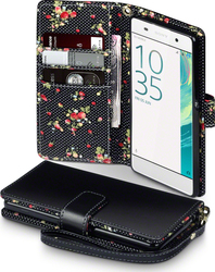 Terrapin Floral Wallet για Sony Xperia XA Black with Floral Interior