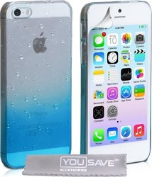 YouSave Accessories Raindrop Hard Case Blue-Clear (iPhone 5/5s/SE)