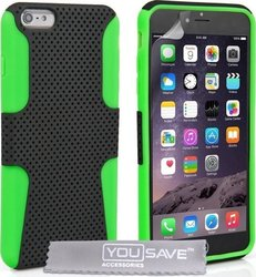 YouSave Accessories Tough Mesh Combo Silicone Case Green (iPhone 6/6s Plus)