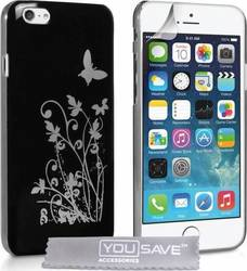 YouSave Accessories Floral Butterfly Hard Case Black (iPhone 6/6S)
