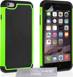YouSave Accessories Back Case Grip Combo Black-Green (iPhone 6/6s Plus)
