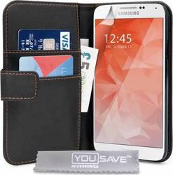 YouSave Accessories Leather-effect Wallet Case Black (Galaxy S6)