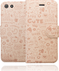 Okkes Cutie Book Case Pink (Xperia Z3 Compact)