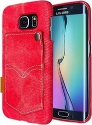 Okkes Denim Jeans Faceplate Red (Galaxy S6 Edge)