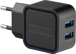 Vidvie 2x USB Wall Adapter & Lightning Cable Μαύρο (PLE202)