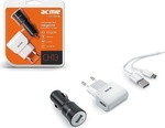 Acme 1x USB Wall & Car Adapter Set Λευκό (CH13)
