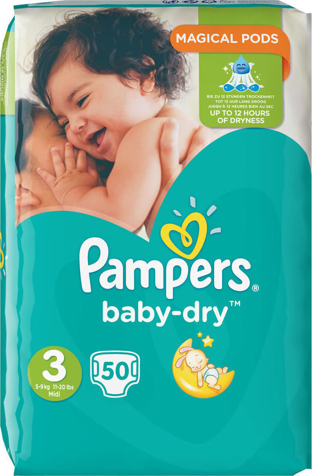 86215d6fd2ee Προσθήκη στα αγαπημένα menu Pampers Baby Dry Magical Pods No 3 (5-9Kg) 50τμχ