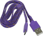 OEM Braided USB 2.0 to micro USB Cable Μωβ 1m (25396598)