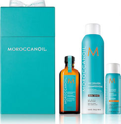 Moroccanoil Cleanse & Go Christmas Box Oil Treatment 100ml & Dry Shampoo Dark Tones 205ml & Luminous Hairspray Strong 75ml