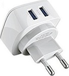Ldnio 2x USB Wall Adapter Λευκό (DL-AC66)