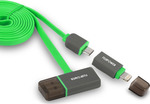 Puro Flat USB to Lightning/micro USB Cable Πράσινο 1m (FPCMICROAPLTHUBGRN)