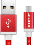 Adata Braided to micro USB Cable Κόκκινο 1m (AMUCAL-100CMK-CRD)