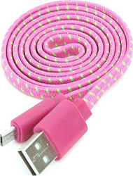 Omega Flat USB 2.0 to micro USB Cable Ροζ 1m (OM42327)