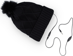 WINTER hat - handsfree 3,5 mm mini jack in Black diamonds