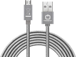 PowerStar Braided USB 2.0 to micro USB Cable Silver 1m