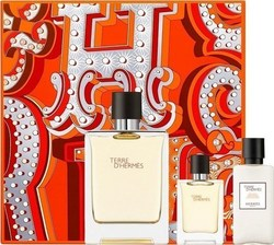 Hermes Terre D' Hermes Eau De Toilette 100ml & After Shave Balm 40ml & Eau De Toilette 12,50 ml