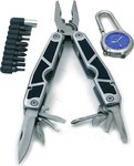 Rolson 28-in-1 Multi-Tool with Bits and LED Lit Timelite Clock 36707