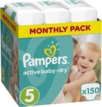 Pampers Active Baby Dry No 5 (11-18Kg) 150 τμχ