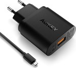 Aukey micro USB Cable & Wall Adapter Μαύρο (PA-T9)