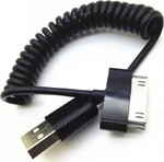 OEM Spiral USB to 30-Pin Cable Μαύρο 1m (USBAPPLE4SPIRB)