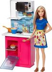 Mattel Barbie Doll & Kitchen Playset
