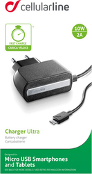 Cellular Line micro USB Wall Charger Μαύρο (ACHMUSBQUALCOMK)