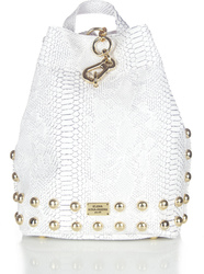 Elena Athanasiou Black n' Metal Backpack Croco Pattern White-Gold