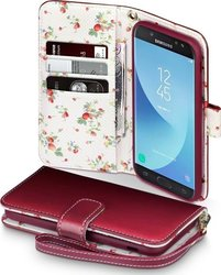Terrapin Wallet Δερματίνης Red with Floral Interior (Galaxy J5 2017)