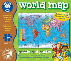 World Map - Puzzle & Poster 150pcs (ORCH280) Orchard