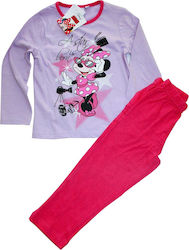 Disney Minnie Mouse Βαμβακερή πιτζάμα για κορίτσια (PH2065A) λιλά