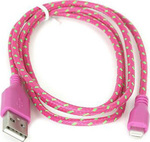 Omega Braided USB to Lightning Cable Ροζ 1m (OUFBIPCP)
