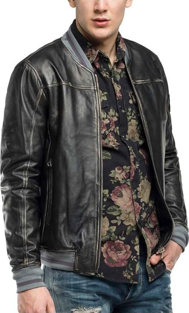 Replay Leather Jacket With Patch - Skroutz.gr a738bdaacbc