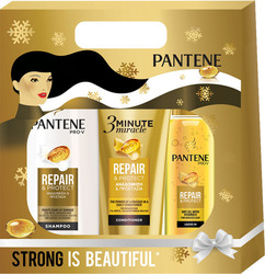 Pantene Pro-V Reconstruction & Protection Shampoo 360ml, Protect Oil 100ml & 3 Minute Miracle Conditioner 200ml
