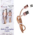 Volte-Tel Braided / Magnetic USB 2.0 Cable USB-C male - USB-A male Gold 1m (8202001)