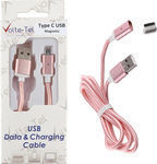 Volte-Tel Braided / Magnetic USB 2.0 Cable USB-C male - USB-A male Rose Gold 1m (8202018)