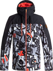 QUIKSILVER MISSION BLOC Arkaid Black & White Snow Jacket